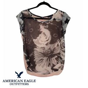 American Eagle Outfitters Sheer Floral/Pink Blouse